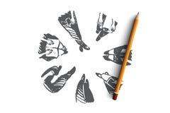 Gruppe, Leute, Versammlung, Sitzung, Diskussionskonzept Hand gezeichneter lokalisierter Vektor vektor abbildung