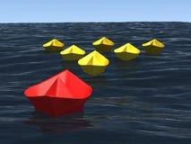 Gruppe Lieferungen mit Führer auf dem Meer Lizenzfreie Stockfotografie
