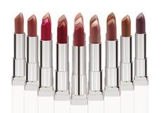 Gruppe Lippenstifte auf Weiß Stockfotografie