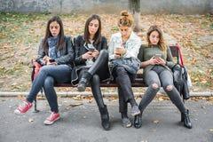 Gruppe Mädchen, die Mobiltelefone auf Parkbank verwenden Stockfotografie