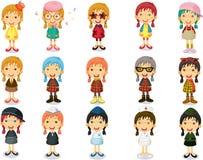 Gruppe Mädchen, die verschiedene Kennzeichnungen zeigen Stockbild