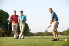 Gruppe männliche Golfspieler, die weg abzweigen Lizenzfreie Stockfotos