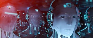 Gruppe männliche Roboter, die Wiedergabe der Führer Cyborgarmee 3d folgen stock abbildung