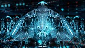 Gruppe männliche Roboterköpfe unter Verwendung der digitalen Wiedergabe der Hologrammschirme 3d lizenzfreie abbildung