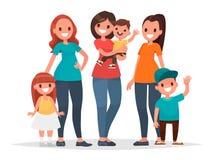Gruppe Mütter mit ihren Kindern Sohn gibt der Mama eine Blume Vektor Illust Lizenzfreie Stockfotografie