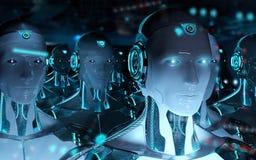 Gruppe m?nnliche Roboter, die Wiedergabe der F?hrer Cyborgarmee 3d folgen lizenzfreie abbildung