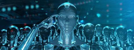 Gruppe m?nnliche Roboter, die Wiedergabe der F?hrer Cyborgarmee 3d folgen stock abbildung