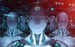 Gruppe m?nnliche Roboter, die Wiedergabe der F?hrer Cyborgarmee 3d folgen vektor abbildung