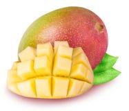 Gruppe Mangos lokalisiert auf weißem Hintergrund Stockfoto