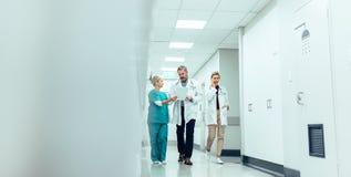 Gruppe Mediziner mit Klemmbrett gehend entlang Krankenhauskorridor lizenzfreie stockfotografie