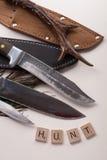 Gruppe Messer für die Jagd auf weißem Hintergrund mit Horn Lizenzfreie Stockfotografie