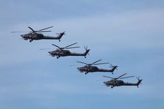 Gruppe Mi-28 Stockbild