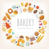 Gruppe Milchprodukte, Brot und Backwaren stock abbildung