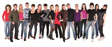 Gruppe mit sechzehn jungen Leuten Stockfotos