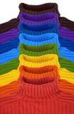 Gruppe multi Farbenregenbogen-Strickjackecollage Stockfotos