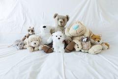 Gruppe nette Plüschtiere auf einer weißen Couch stockfotos