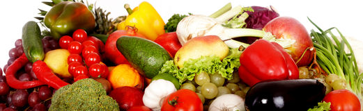 Gruppe Obst und Gemüse. stockfotografie