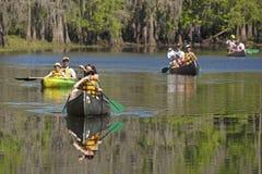 Gruppe Paddlers, die auf Schindel-Nebenfluss in Kissimmee, blumig canoeing sind stockfoto