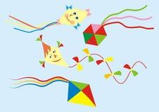 Gruppe Papierdrachen im Himmel, Vektorikone, Hintergrund stock abbildung