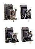 Gruppe photocamera vier auf mittlerem Format mit den Bälgen lokalisiert stockbild