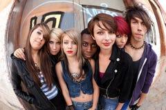Gruppe Punks Fisheye Lizenzfreies Stockfoto