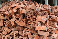 Gruppe quadratische Baumaterialien der Ziegelsteine Stockbilder