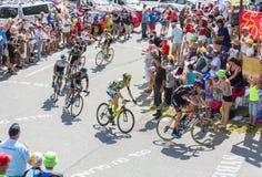 Gruppe Radfahrer auf Col. du Glandon - Tour de France 2015 Stockbild