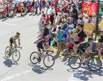 Gruppe Radfahrer auf Col. du Glandon - Tour de France 2015 Stockfotografie