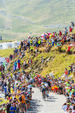 Gruppe Radfahrer auf Col. du Glandon - Tour de France 2015 Lizenzfreies Stockfoto
