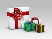 Gruppe realistische bunte Geschenke 3D mit Illustration der Band-3d Lizenzfreies Stockfoto