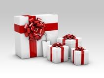 Gruppe realistische bunte Geschenke 3D mit Illustration der Band-3d Lizenzfreie Stockfotos