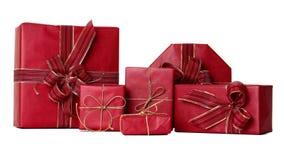 Gruppe rote Geschenke Lizenzfreies Stockfoto
