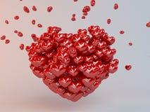 Gruppe rote Herzen steigt im Ballon auf, ein Herz bildend Lizenzfreie Stockfotos