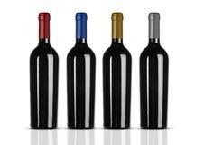 Gruppe Rotweinflaschen ohne Aufkleber Lizenzfreies Stockbild