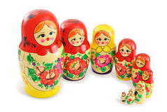 Gruppe russische Puppen stockfotos