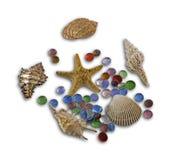 Gruppe schöne Seeschüsseln und Farbsteine Stockfotografie