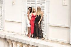 Gruppe schöne sexy Damen in den eleganten Kleidern am sonnigen summe stockbilder