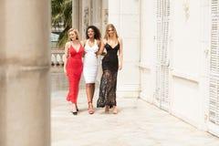 Gruppe schöne sexy Damen in den eleganten Kleidern am sonnigen summe lizenzfreie stockbilder