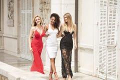 Gruppe schöne sexy Damen in den eleganten Kleidern am sonnigen summe stockfoto