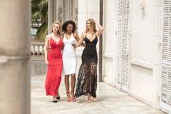 Gruppe schöne sexy Damen in den eleganten Kleidern am sonnigen summe stockbild