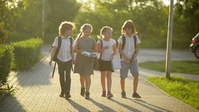 Gruppe Schüler mit Schulrucksäcken gehen zurück zur Schule Sie haben viel Spaß stock video footage