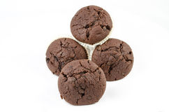 Gruppe Schokoladenmuffins lokalisiert Stockfotos