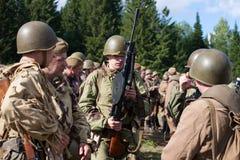 Gruppe sowjetische Soldaten des zweiten Weltkriegs Lizenzfreies Stockfoto