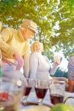 Gruppe Spielkarten der älteren Leute im Sommer Lizenzfreie Stockfotos