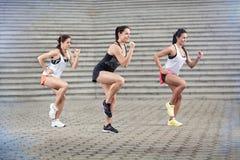 Gruppe Sportlerinnen, die Übungen tun Lizenzfreie Stockfotografie