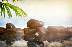 Gruppe Steine mit Strandhintergrund Stockbild