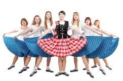 Gruppe Tänzer des Scottishtanzes stockfotos