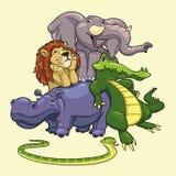 Gruppe Tiere der Savanne. Stockfotografie