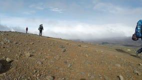 Gruppe Touristen, die auf Berg mit Rucksack- und Trekkingsstöcken gehen stock video