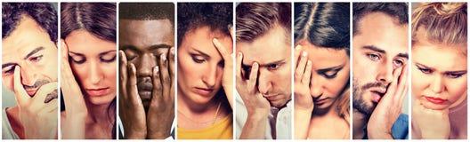 Gruppe traurige deprimierte Leute Unglückliche Mannfrauen Stockbild